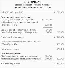 Sample Traditional Income Statement Beauteous Exercise48 Variable And Absorption Costing Income Statement
