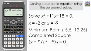 solve a quadratic equation using the classwiz polynomial solver casio fx 991ex fx 570ex calculator