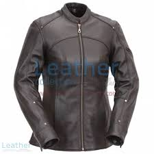 3 4 length touring motorcycle leather jacket front view