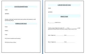 Selling A Car Receipt Template Repair Invoice Used Word Excel