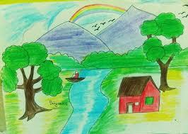 a beautiful scenery drawing steemit