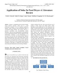 Design And Construction Of Solar Fish Dryer Application Of Solar In Food Dryer A Literature Review By