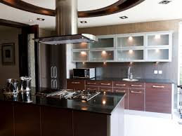 interesting black countertop kitchen ideas with hanging cabinet