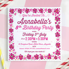 Birthday Invatations Girls Personalised Birthday Invitations