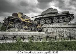 World war ii tank monument in svidnik, slovakia. Svidnik, slovakia - may  14: world war ii famous tank monument in valley of