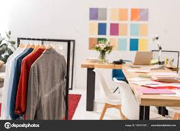 office color palette. Fashionable Clothes Hangers Paperwork Table Modern Office Color Palette Wall \u2014 Stock Photo N