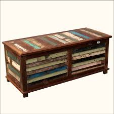 Rustic Reclaimed Wood Multi Color Coffee Table Storage Trunk Chest  pertaining to Storage Trunk Coffee Tables