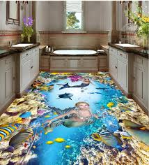 Bathroom:Flooring Gallery Custom Stickers Wallpaper Painting Bathroom Pvc  Waterproof Ocean 3D Isleand Ideas Beach