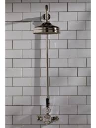 the cast iron bath company exposed shower valve rigid riser and 8 rose polished