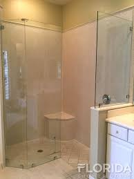 3 8 frameless fixed panels secured with glass clamps chrome hardware finish