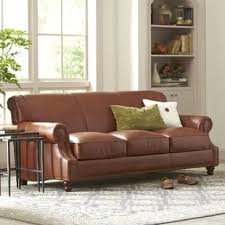 Black leather couch Long Landry Leather Sofa Wayfair Black Leather Sofas Youll Love Wayfair