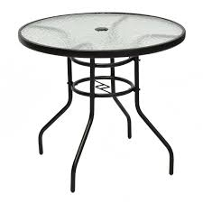 costway 31 1 2 patio round table tempered glass steel frame outdoor pool