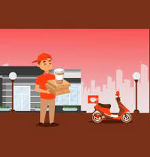 High quality composition with young female worker bringing lunchboxes, coffee to a smiling businessman in the. Coffee Delivery Vector Images Over 6 000