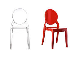 plastic chair with oval backrest for