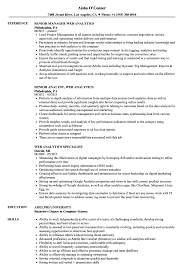 Web Analyst Resume Sample Web Analytics Resume Samples Velvet Jobs 2