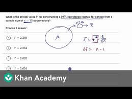 Example Finding Critical T Value Video Khan Academy