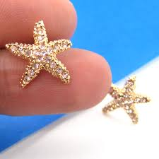 small starfish star shaped stud earrings gold with rhinestones img original thumbnail ring industrial bar piercing