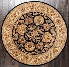 rugsville handmade tabriz black ivory traditional round rug 180x180 cm
