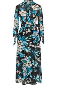 Floral Print Cotton And Silk Blend Midi Wrap Dress