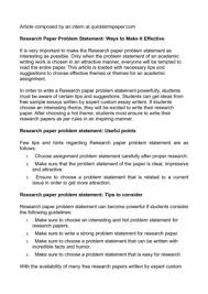 Research Problem Statement