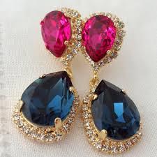navy blue and ruby pink fuchsia chandelier earrings drop earrin