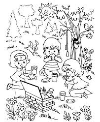 Small Picture Three Children Playing Family Picnic Coloring Pages NetArt