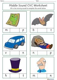 Each of these worksheets focus on two vowels at a time to give children the opportunity to hear the difference. Middle Sound Cvc Worksheets K 3 Teacher Resources