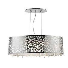 julie 8 light chrome oval drum chandelier with clear crystal shade