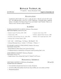 Resume Format Examples For Students Resumes For College Students ...