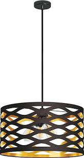 lazaro 4 light pendant with cutout drum shade black and gold upc 65214214643