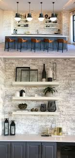 whitewashed brick accent wall