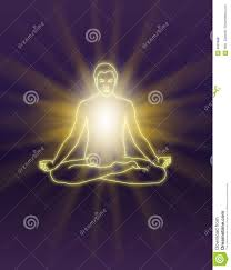 Purple Light In Meditation Sending Out Energy During Meditation Stock Illustration