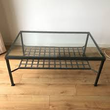 ikea large glass metal coffee table