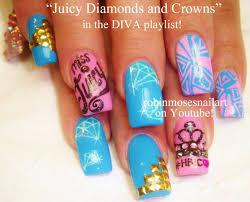 Pink and Teal Diva Nail Art | Diamonds & Crowns Bling Nails Design ...