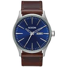 nixon sentry leather watch men s blue brown