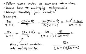 some key topics that involve multiplying and dividing rational expressions