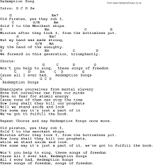 Redemption Song Lyrics And Chords Bob Marley Cover
