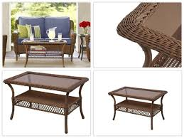 hampton bay spring haven brown all weather wicker patio coffee table
