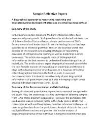 sample reflective papers sample reflective papers a biographical approach to researching leadership and entrepreneurship development processes in a
