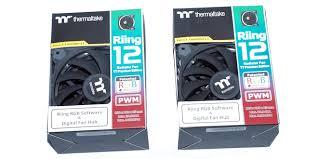 Thermaltake <b>Riing 12 LED</b> RGB LED <b>Radiator</b> Fan (3 Fan Pack)(P/N ...