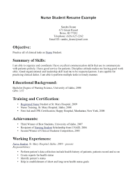 Resume For Students Resume Example Of A Nursing Resume
