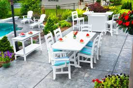 white outdoor furniture. Chic White Outdoor DIY Patio Furniture For Summer Relaxing Time: Backyard Designs With Pool