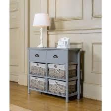 vintage console table. Vintage Console Table Hallway Furniture Wooden Storage Cabinet Baskets Drawers