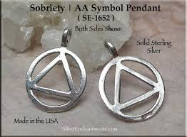 sterling silver aa pendant necklace alcholics anonymous recovery jewelry silver enchantments