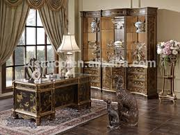 retro home office. Retro Home Office Furniture, Exquisite Hand Painting Executive Desk With Chair, Classical Wood Carved