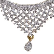american diamond mangalsutra pendant with chain earrings zoom