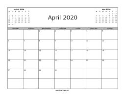 April May 2020 Calendar Printable April 2020 Calendar Free Printable Allfreeprintable Com
