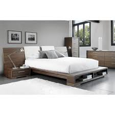 sonoma bed with wide wood headboard and bookcase