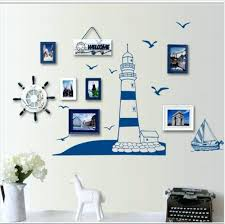 ocean wall decor blue ocean lighthouse seagull photo frame wall stickers home nautical decor wall art ocean wall decor