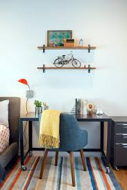 Small Bedroom Armchair Wheeled Black Small Corner Desk In Bedroom With Floating Shelves